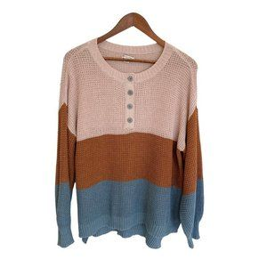 AEO Colorblock Long Sleeve Button Knit Size Small